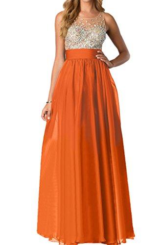 kurz 1 Missdressy Orange Abendkleid Rundkragen Partykleid Strass Chiffon Damen Tuell wqqHx7B