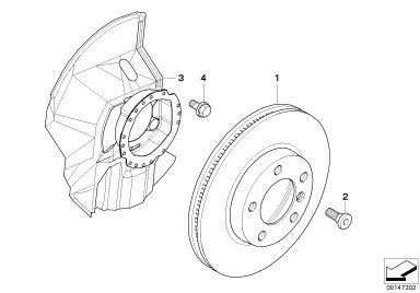 BMW Genuine Front Brake Disc Left N//S Protection Plate Dust Shield 34112282109