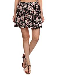Simplicity Women's Floral Print Flared A-Line Pleated Short Skirt
