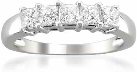 14k White Gold Princess-cut Diamond Bridal Wedding Band Ring (7/8 cttw, H-I, I1-I2)