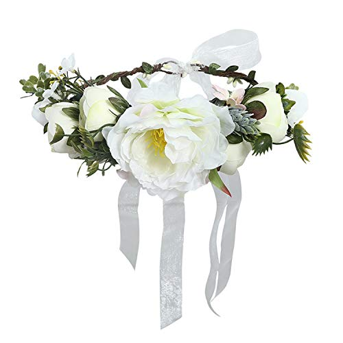 Luccaful Women Wedding Floral Crown Head Band Floral Head Wreath Flower Headband Bridesmaid Bridal Garland Forehead Hair Band,23 -