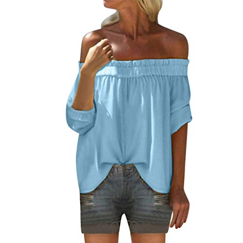 2019 Summer Women Solid Off Shoulder Sexy Blouse,Fashion Loose Half Sleeve Pleated Shirt Bandeau Crop Tops Sunmoot Blue ()