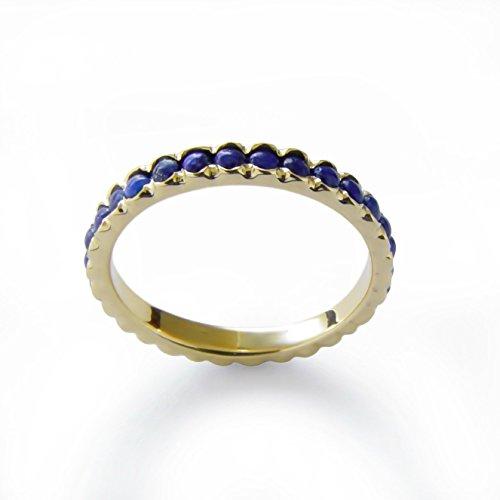 Blue Lapis Engagement gold ring 14K Yellow gold ring, Stacking ring, Infinity Wedding Band, Handmade Lapis jewelry, Vintage Lapis band, Blue gemstone ring, multistone band, gemstone wedding ring, Sale