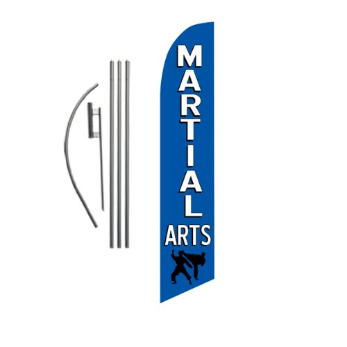 Martial Arts Advertising Feather Banner Swooper Flag Sign with Flag Pole Kit and Ground Stake, Karate