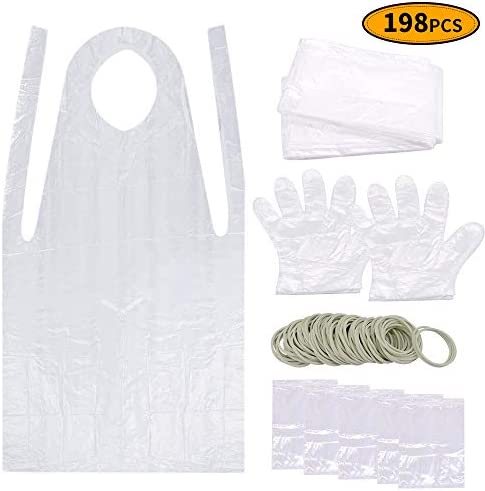 Caloyee 198 Pieces Tie Dye Tools Art Crafs Fashion DIY Kits Including Rubber Bands Sealed Bag Apron Gloves and Tablecloth for Kids Group Activities