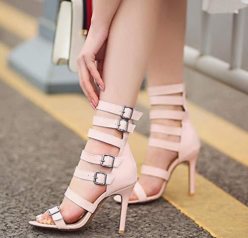 Lady Ouvert Soirée Femme Bout Rose Sandales Mode Bottes Aisun Boucles qwvxgPxF