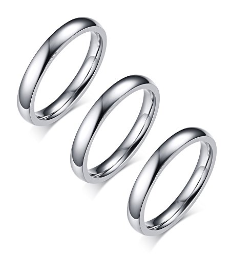 (MG 3 Pcs 3mm Unisex Stainless Steel High Polished Dome Classic Thin Wedding Ring Bands for Men Women,Size 12)
