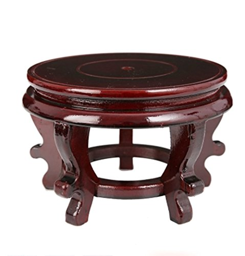 Rluii Chinese Display Stands Hand-Crafted Rosewood Oriental Vase Stand accessories Decor/Fish Bowl Stand (5.5 inches in diameter; 3.9 inches high)