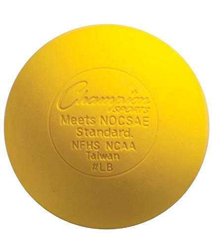 Champion Sports Colored Lacrosse Balls: Yellow Official Size Sporting Goods Equipment for Professional, College & Grade School Games, Practices & Recreation - NCAA, NFHS and SEI Certified - 1 Pack