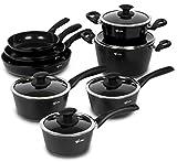 Lagostina L502613613 Endura Ceramic Non-Stick 13-Piece Cookware Set, Large, Black