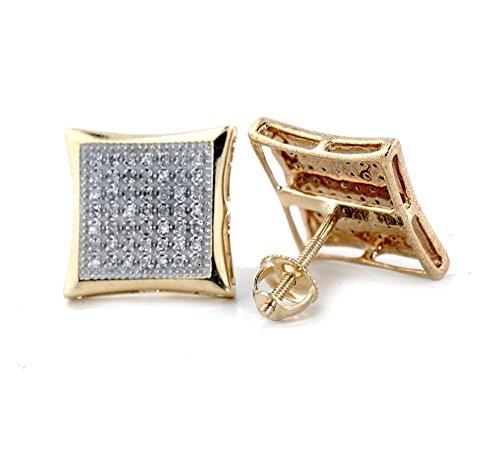Diamond Big Earrings (10k Gold Kite Earrings Large 0.25ctw Diamond Men's Earrings 12.5mm Wide Screw Back(i3/j/k))