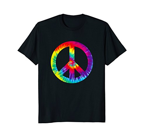 Mens Peace Sign 60s 70s T Shirt Tie Dye Hippie Costume 2XL (Peace Sign Hippie Costume)
