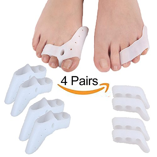 Mcvcoyh Pinky Bunion Protector Toe Spacer & Straightener, Updated Gel Toe Separators for Tailors Bunion Pain Relief 4 Pairs by Mcvcoyh