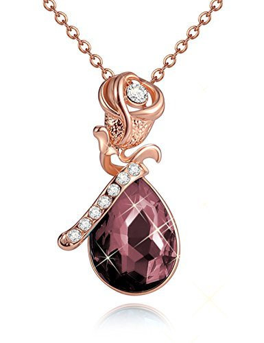 - June Simulated Alexandrite Birthstone Rose Flower Pendant Necklace Crystal Rose Gold Plated Valentine's Day Gifts For Wife Girlfriend Anniversary Gifts for Her Jewelry gifts For Women