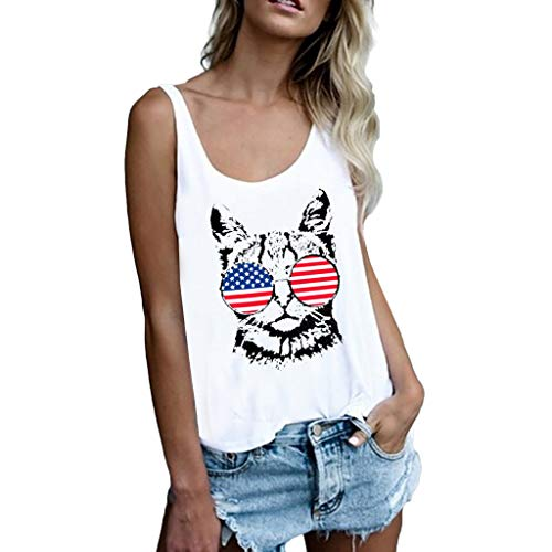 Ximandi Women's American Flag Cat Print Vest Loose Top Sleeveless Tank Sport Vest Blouse White