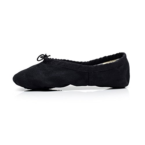 Women's Canvas Ballet Slipper Split Sole Gymnastics Yoga Shoe (US6, Black) (Juliet Black Shoes)