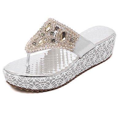LvYuan Mujer-Tacón Cuña-Otro-Sandalias-Vestido Informal-PU-Plata Oro sliver