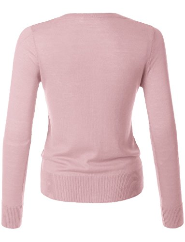 LE3NO Womens Lightweight Round Neck Fine Knit Cardigan Sweater With Stretch by LE3NO (Image #2)