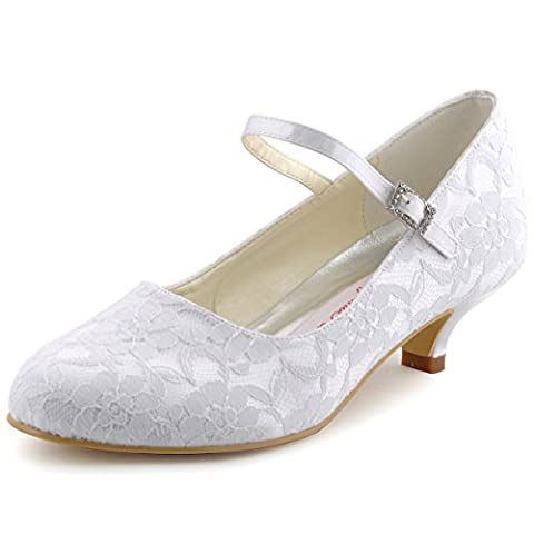 Elegantpark 100120 White Women's Round Toe Cone Heel Satin Lace Buckle Wedding Bridal Shoes US 12