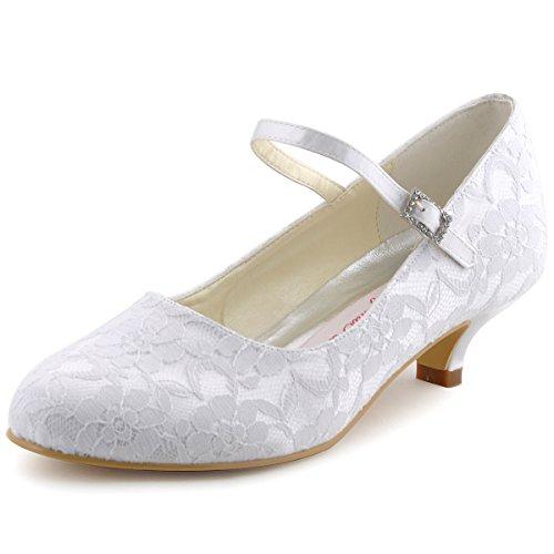 ElegantPark 100120 White Women's Round Toe Cone Heel Satin Lace Buckle Wedding Bridal Shoes US - Pump Shoe Toe Lace Round