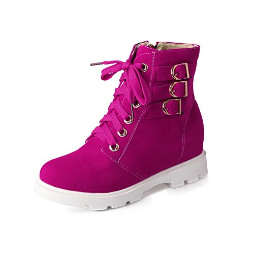 AgooLar Round Kitten Top Toe Rosered Zipper Boots Heels Closed Women's Low Frosted 1txr61f