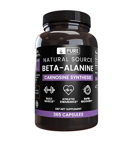 100% Pure Beta-Alanine  90-Day Supply  365 Capsules  No Magnesium or Rice Filler, Vegetarian, US Made, Gluten-Free, 2260mg of Undiluted & Potent Beta-Alanine with No Additives