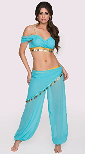 Blue Belly Dancer Halloween Costume (Delicious Arabian Nights Sexy Costume, Blue, X-Small, X-Small)