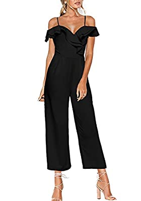 Luyeess Women's Straps Off Shoulder High Waist Ruffled Long Wide Leg Jumpsuit