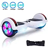 UNI-SUN 6.5'' Hoverboard for Kids, Two Wheel Electric Scooter, Self Balancing Hoverboard with Sidelights and LED Lights for Adults, UL 2272 Certified Hover Board(Updated White)