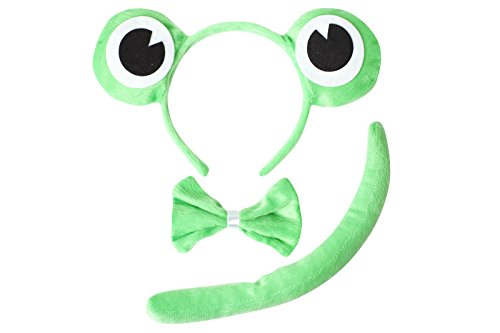 [Cute Animal Headband Ear Set with a Tail and a Bow Tie (Green Frog)] (Dalmatian Ears)