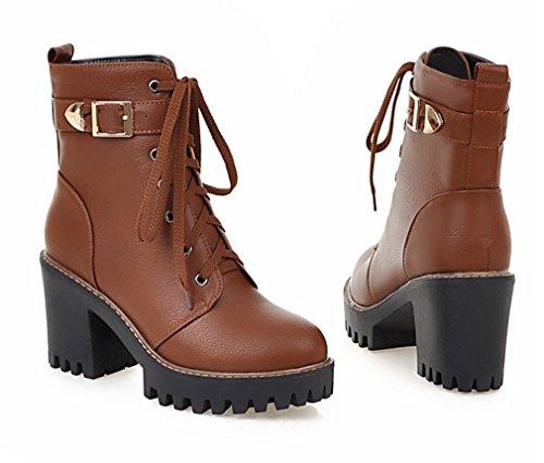 YE Damen Chunky Heels Stiefeletten mit Plateau Bequeme Blockabsatz Schnürung und Schnallen 8cm Absatz Herbst Winterschuhe Braun