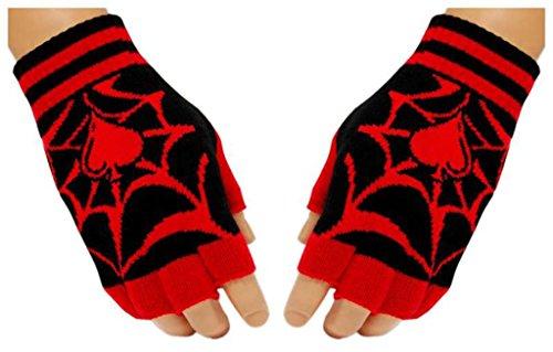 Black Fingerless Gloves Spider Web for (Spider Web Fingerless Gloves)