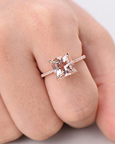 Morganite Engagement Ring Princess Cut Rose Gold 925 Sterling Silver CZ Thin Band Solitaire Ring Eternity by Milejewel Morganite Engagement Ring (Image #5)