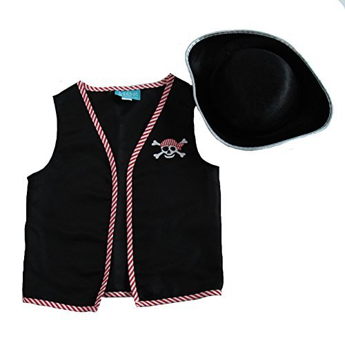 Kids Basic Pirate Accessory Dress Up Kit - Vest & Hat Size -