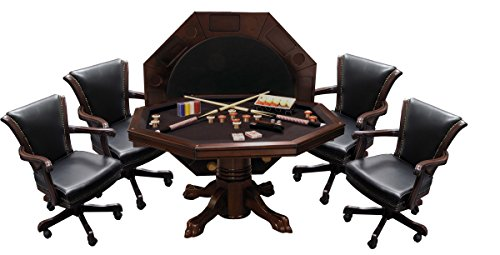 Signature Combination Game Table Set w/ 4 Executive Game Chairs - Mahogany finish - Dining Room Mahogany Game Table
