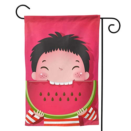 Cute Boy Eating Watermelon Flower Floral Spring Summer Decorative Seasonal Garden Flag for Outside 12.5x18 Inch Print Double Sided