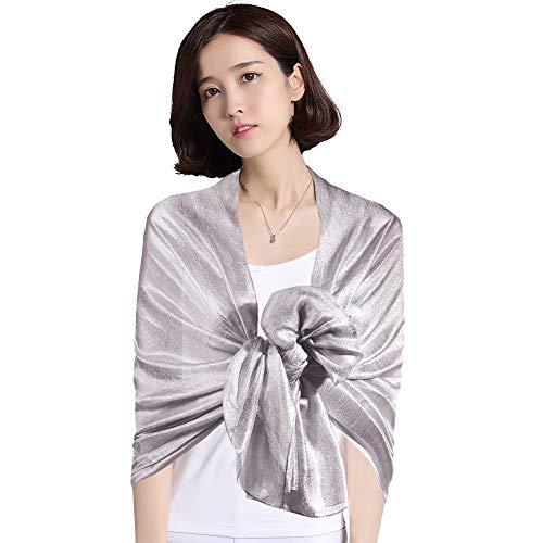 QBSM Womens Silver Grey Large Solid Soft Bridal Wedding Evening Dresses Scarf Shawls Wraps