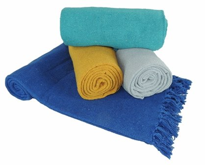 Kakaos Cotton Solid Color Yoga Blankets with Matching Tassels