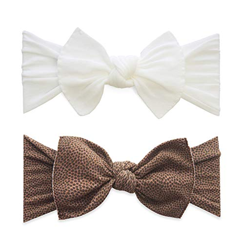 Baby Bling Bows 2 Pack - Girls Classic Knot Headbands Brown Football and White (Football Bow Girls)