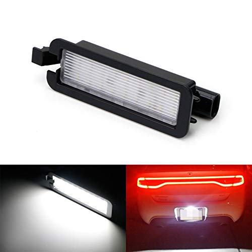 iJDMTOY OEM-Fit 3W Full LED License Plate Light Kit For 2015-up Dodge Charger Challenger, Chrysler 300 & Pacifica, 2017-up Jeep Compass, Powered by 18-SMD Xenon White LED