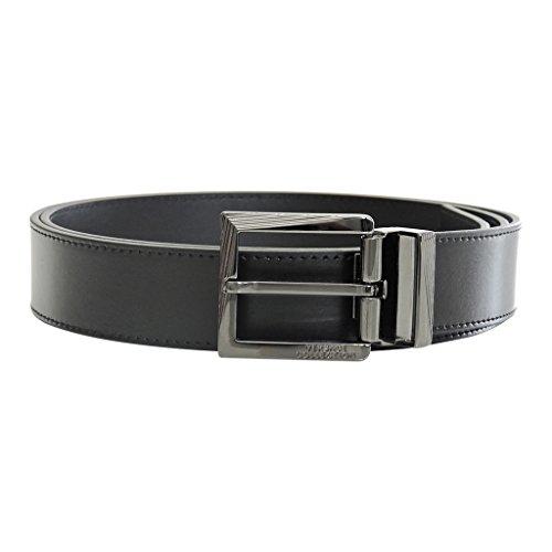 Versace Collection Men's Black Leather Silver Buckle Adjustable Belt (Leather Pebbled Buckle Belt)
