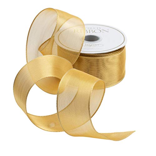 Caspari Sheer Gold Wired Ribbon – 27 Foot Spool