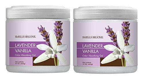 SMELLS BEGONE Air Freshener Odor Absorber Gel - Made with Natural Essential Oils (Lavender Vanilla Scent 2 Pack) (Air Gel)