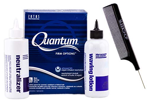 Zotos QUANTUM FIRM OPTIONS Alkaline Perm, FIRM CURLS, for Normal, Resistant or Tinted Hair (with Sleek Steel Pin Tail Comb) Blue Argan-Infused (FIRM OPTIONS/BLUE BOX) (Quantum Firm Perm)