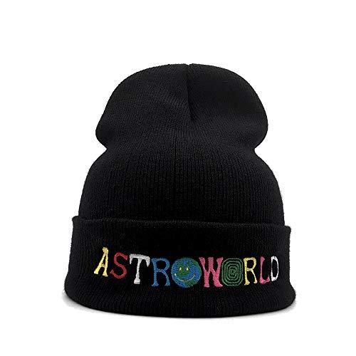 Scott Cap - Travis Scott Astroworld Unisex Knitted Hat Wool Hat Sleeve Cap Beanie Hat Winter Windproof Warm Soft Cable Knitted Hat