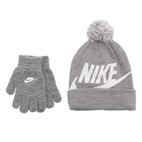 0178bd921fa0d3 Kids' Nike Swoosh Pom Beanie Hat and Gloves Set (4/7, Dark Grey ...