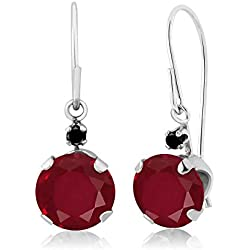2.13 Ct Round Red Ruby Black Diamond 14K White Gold Earrings