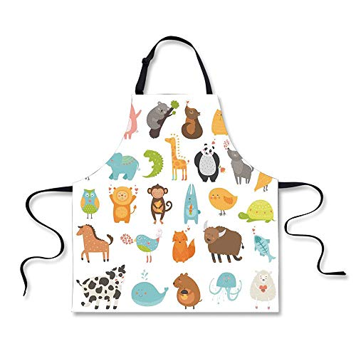 iPrint BBQ Apron,Kids,Pattern with Zoo Animals Love Hearts Art Baby Shower Party Decorations Decorative,White Orange, Apron.29.5