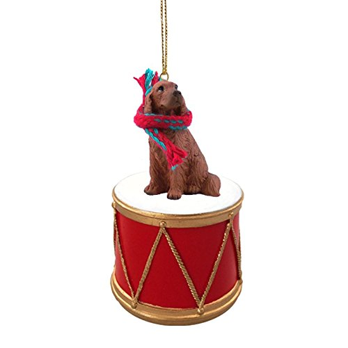 Irish Setter Drum Christmas Ornament w. Gold String & Scarf