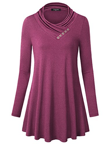 Laksmi Long Tunics  Casual Button Cowl Neck Flowy A Line Long Sleeve Flared Loose Fit Tunic Tops Mga L